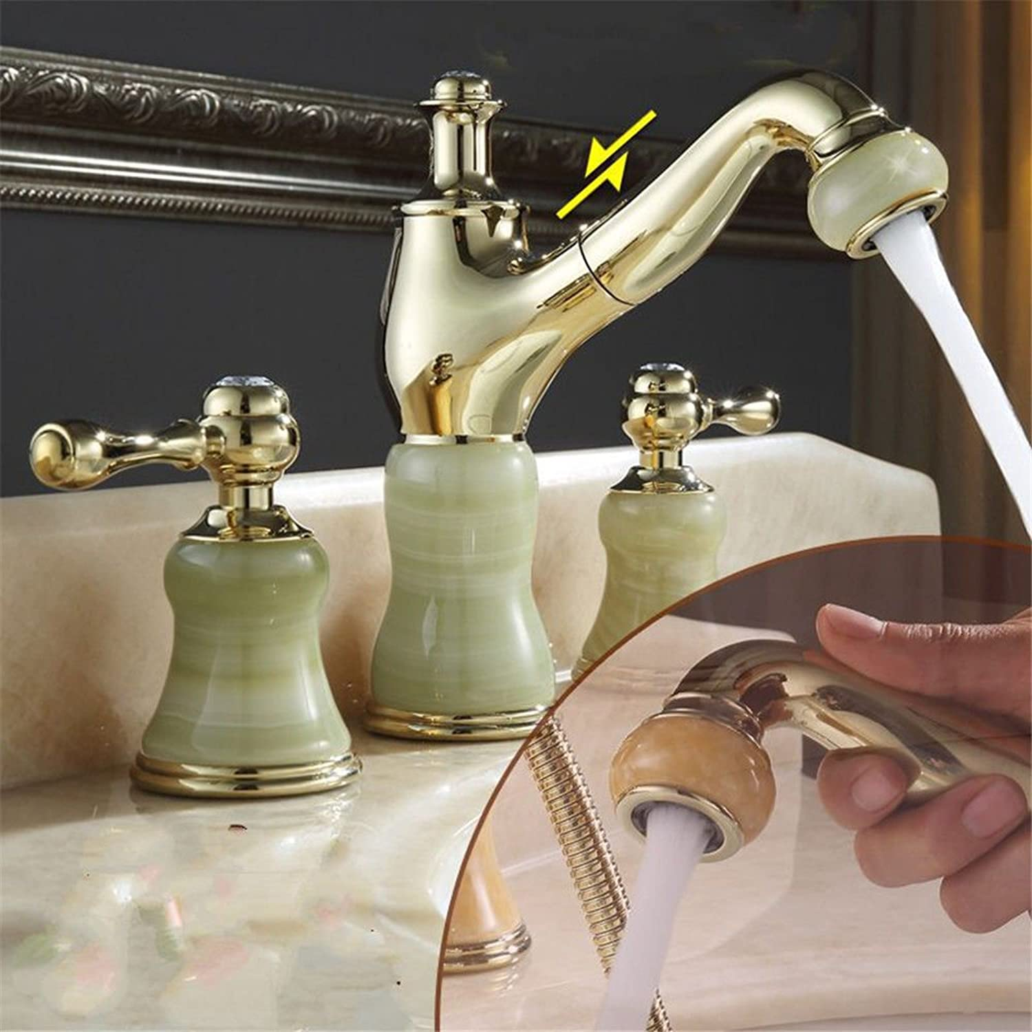 Hlluya Professional Sink Mixer Tap Kitchen Faucet Brass Body antique pull hot and cold faucet 3-hole wash basin jade gold basin taps,