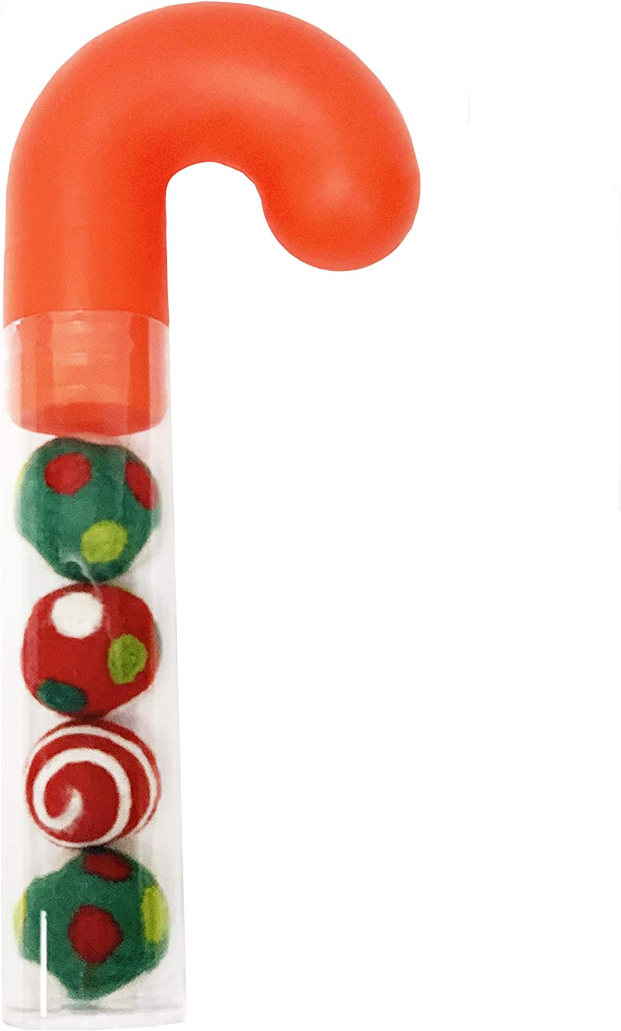 Designs Candy Cane Wool Ball Filled Cat Toys