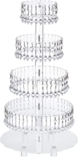 Pre-Installed Crystal Beads- 5 Tier Acrylic Cupcake Tower Stand with Hanging Crystal Bead-wedding Party Cake Tower (5 Tier With Feet) (5RF-Crystal)