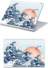 """MasiBloom 2 in 1 Protector Sticker Decal Protective Laptop Cover Skin for 15"""" 15 inch Microsoft Surface Book 2 (2017 Released) (for 15"""" Surface Book 2, Wave/Seagull- Red)"""