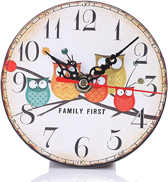 BloomingJS Wooden Wall Clock Owl Modern Style Round Vintage Rustic Home Kitchen Office Room Decor Pattern 1