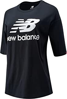 New Balance Women Nb Essentials Stacked Logo Tee Top Lifestyle Black Xs