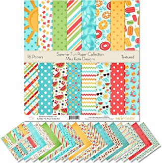 """Pattern Paper Pack - Summer Fun - Scrapbook Premium Specialty Paper Single-Sided 12""""x12"""" Collection Includes 16 Sheets - b..."""