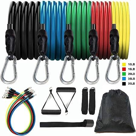 11pack Bandas de Resistencia, Bandas Elasticas, Bandas de resistencia para ejercicio, bandas de resistencia de fitness con 5 tubos de fitness/manijas/anclaje de puerta/correas de tobillo/bolsa de transporte de entrenamiento bandas de gimnasio para hombres y mujeres