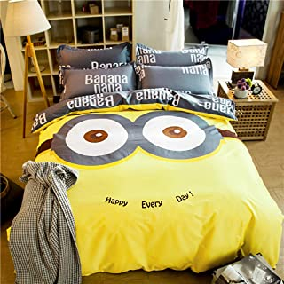 Papa&Mima Yellow Minions Cartoon Style Duvet Cover Set Fitted Sheet Pillowcases Bedding Set Twin Size 47