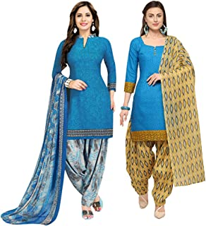 Rajnandini Women's Blue And Sky Blue Cotton Printed Unstitched Salwar Suit Material (Combo Of 2) (Free Size)
