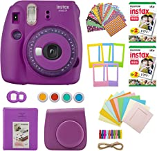 Fujifilm INSTAX Mini 9 Instant Camera with Clear Accents (Purple) with Twin Instant Film Packs (40 Shots) and 7-1 Accessory Gift Bundle (4 Items)