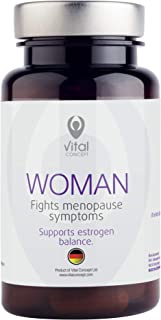 Vital Concept Woman - Effective Menopause Support. 168 mg Red Clover&Soy Isoflavone, Rhodiola Rosea Extracts. Helps with Hot Flashes, Insomnia, Night Sweats, Headaches, Depression. 60 Caps, 30 Days