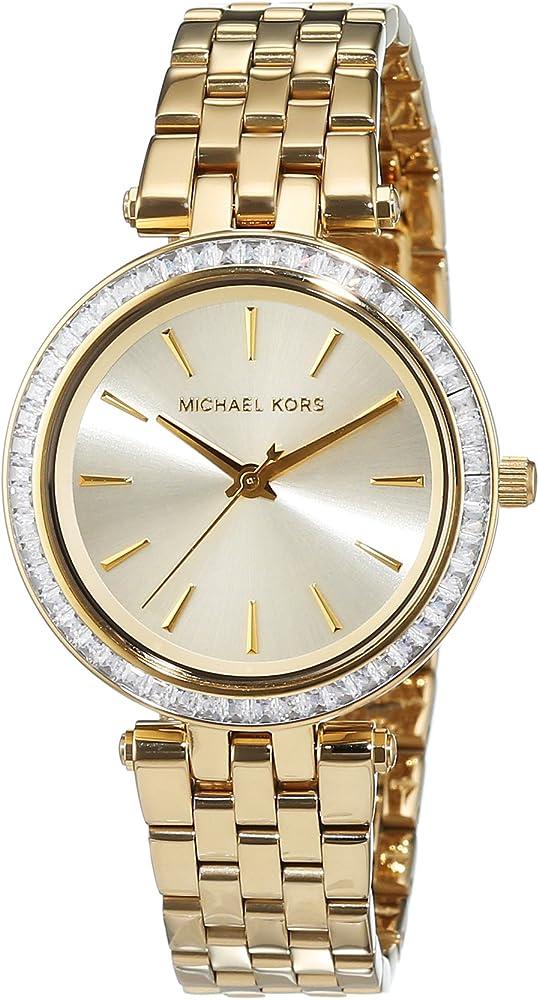Michael kors,orologio per donna, con cinturino in acciaio inossidabile,lunetta con cristalli MK3365