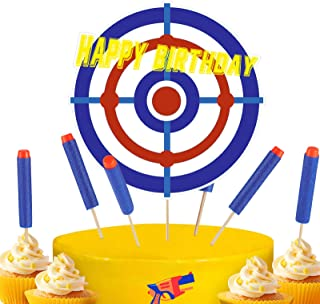 Blulu 13 Pieces Happy Birthday Cupcake Toppers Target Cake Toppers War Cake Decorations for Kids Birthday Party Supplies