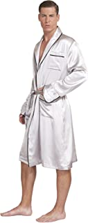 Silk 100% Pure Mulberry Silk Men's Lightweight Kimono Style Spa and Lounge Robe with Gift Box