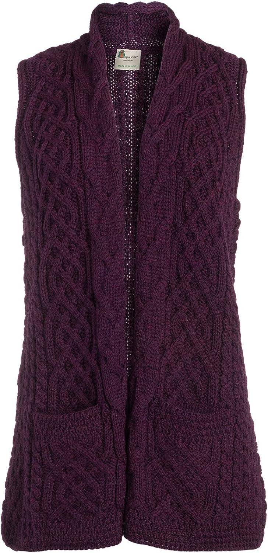 Boyne Valley Knitwear Ladies Merino Wool Celtic Gilet Cardigan