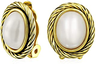 White Simulated Mabe Pearls Button Bezel Twist Rope Cable Clip-On Earrings For Women Oxidized 14K Gold Plated Brass