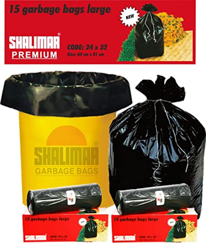 Shalimar Premium OXO - Biodegradable Garbage Bags (Large) Size 60 cm x 81 cm 4 Rolls (60 Bags) (Black Color)