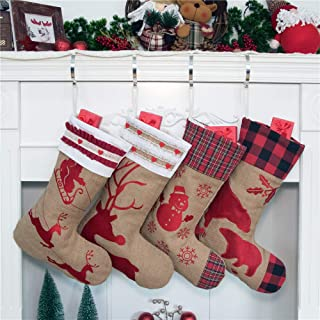 Beyond Your Thoughts 2019 Family Burlap Rustic Christmas Stocking Set of 4 (Extra Large) Embroidered Linen Christmas Ornament Family Decorations (18 inch)