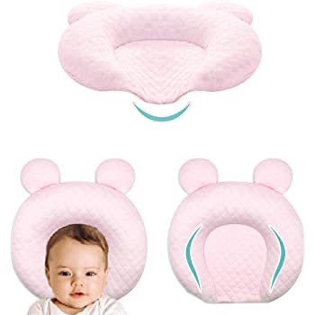 XMWEALTHY Infant Support Head Pillows Soft Baby Nursery Pillows Unisex Newborn Head Shaping Pillow Support Head Sleep Pillows 0-12 M(Pink)