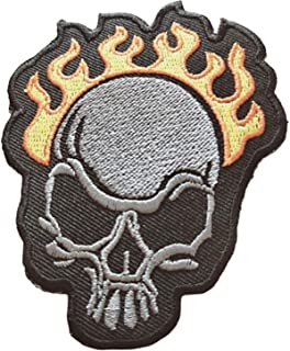 Fire Embroidered Patch Skull Biker Iron Skeleton Rider Motorcycle Rocker Chopper Devil Flaming Appliqued Hippie Hot On Your Jacket Jeans New
