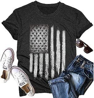 MYHALF Women's Short Sleeve July 4th American Flag T Shirts Tops