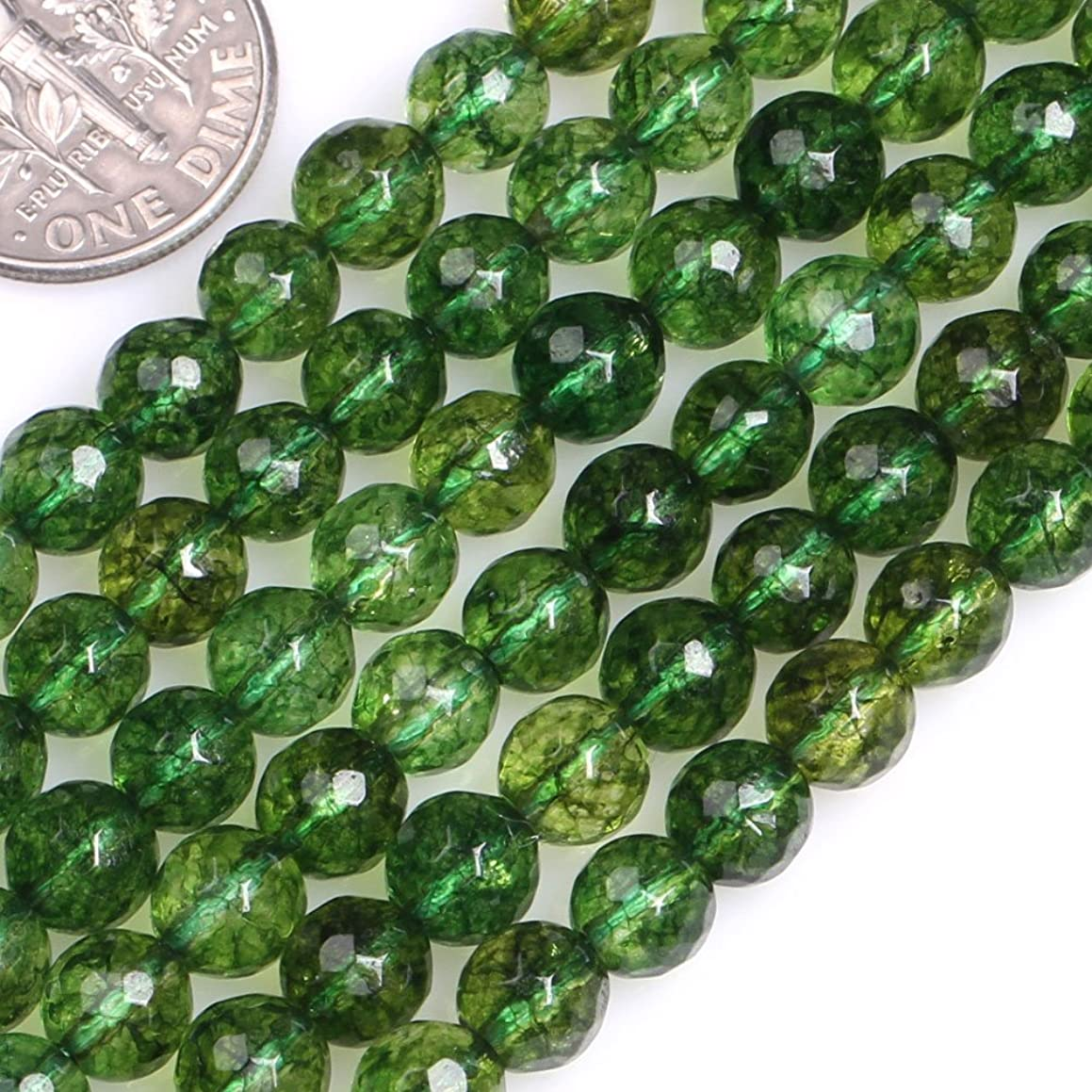 GEM-insid Faceted Green Peridot Gemstone Loose Beads Natural Energy Power Beads For Jewelry Making 6mm Round 15