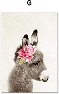 Cloudy Clouds Peony Flower Rabbit Lion Fox Bear Llama Wall Art Canvas Painting Nordic Posters and Prints Nursery Wall Pictures Kids Room Deco,A4 21X30Cm No Framed,G