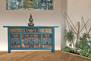 OPIUM OUTLET Aparador Comoda cajonera chifonier Salon Comedor Chino Antiguo Vintage Asiatico Shabby Azul