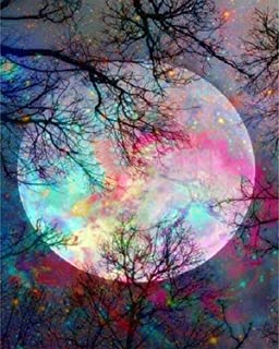 5D Diamond Painting by Number Kit, Bright Moon Full Drill Embroidery Cross Stitch Picture Supplies Arts Craft Wall Sticker...