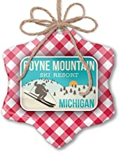 NEONBLOND Christmas Ornament Boyne Mountain Ski Resort - Michigan Ski Resort Red Plaid