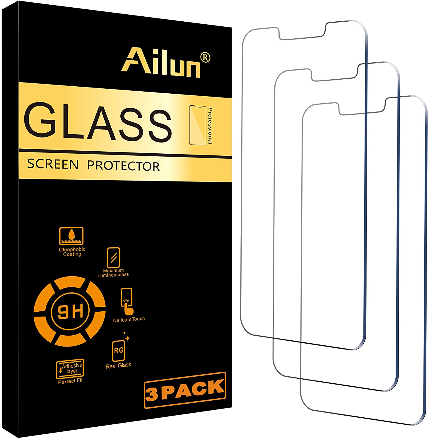 Ailun Glass Screen Protector Compatible for iPhone 13/13 Pro [6.1 Inch] Display 3 Pack Case Friendly Tempered Glass