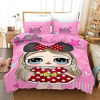 Vampsky LOL Girl Pink Decorative bedroom Bedding Sets Duvet Cover Set 3 Piece, Polyester Microfiber 3D Bedroom Duvet Set P...