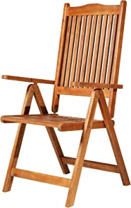 Outsunny Acacia Wood Slat Indoor/Outdoor Folding Arm Chair Dining Seat Adjustable 5 Position
