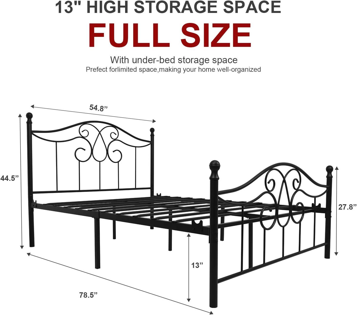 Vintage Sturdy Metal Bed Frame Full Size with Vintage Headboard and Footboard Platform Base Bed Frame No Box Spring Needed Steel Bed?Antique Brown?Full.