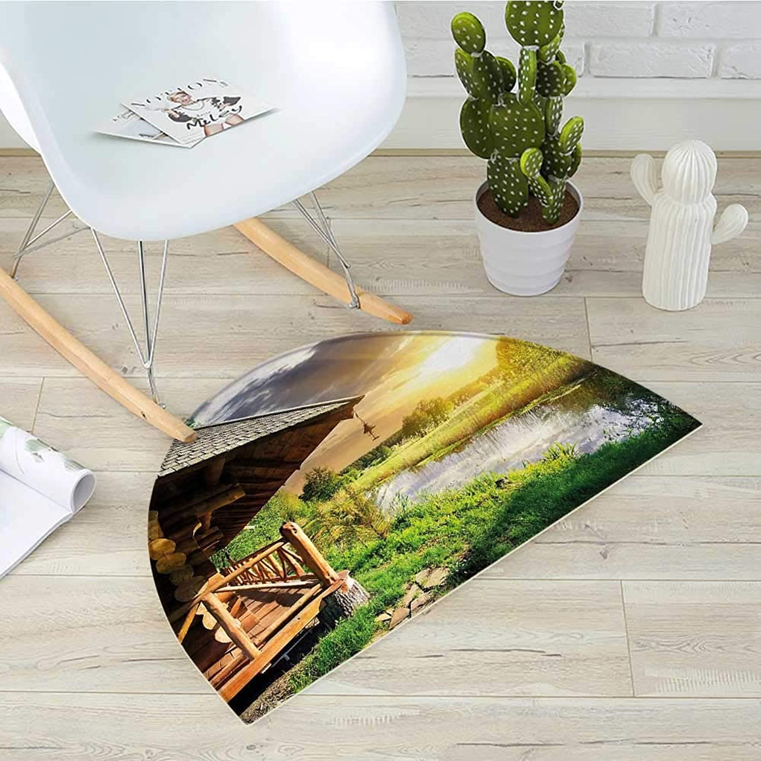 Nature Half Round Door mats Wooden Country House by The Lake with Horizon Background Village Rural Life View Bathroom Mat H 39.3  xD 59  Multicolor