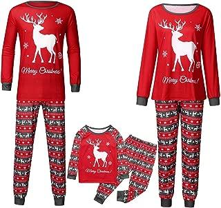 Matching Family Christmas Pajamas Set Xmas Elk Top Plaid Pants PJs Sleepwear Outfits for Mom Dad Kids