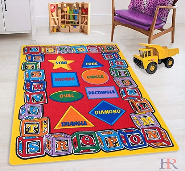 HR S 8FTX11FT KIDS EDUCATIONAL PLAYTIME RUG 7FT 4INX10FT 4IN ABC SHAPES PLEASE CHECK ALL PICTURES