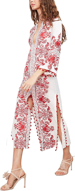 R.Vivimos Women Half Sleeve V Neck Tassel Cotton Vintage Embroidered Slit Casual Long Dress