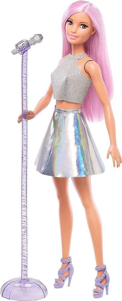 Barbie, carriere pop star con microfono, bambola capelli rosa e abiti argento FXN98