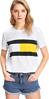 Milumia Women's Summer Striped Print Graphic T Shirts Short Sleeve Basic Tee Tops
