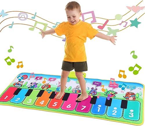 Fascol Tapis Musical Piano, Tapis de Jeu Danse pour Enfants Instrument Touch Jeu Clavier pour Enfants avec 8 Instrume...
