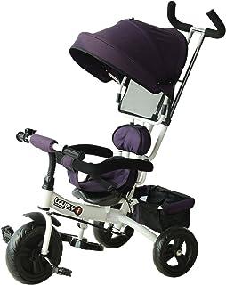 comprar comparacion HOMCOM Triciclo para Bebé 2 en 1 Bicicleta para +18 Meses con Capota Manija de Empuje Ajustable Barra Extraíble Reposapiés...