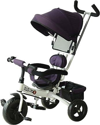 homcom Triciclo con Maniglione Deluxe con Tettuccio Parasole per Bambini in Plastica, Ferro 92 x 51 x 110cm, Colore: Bianco e Viola