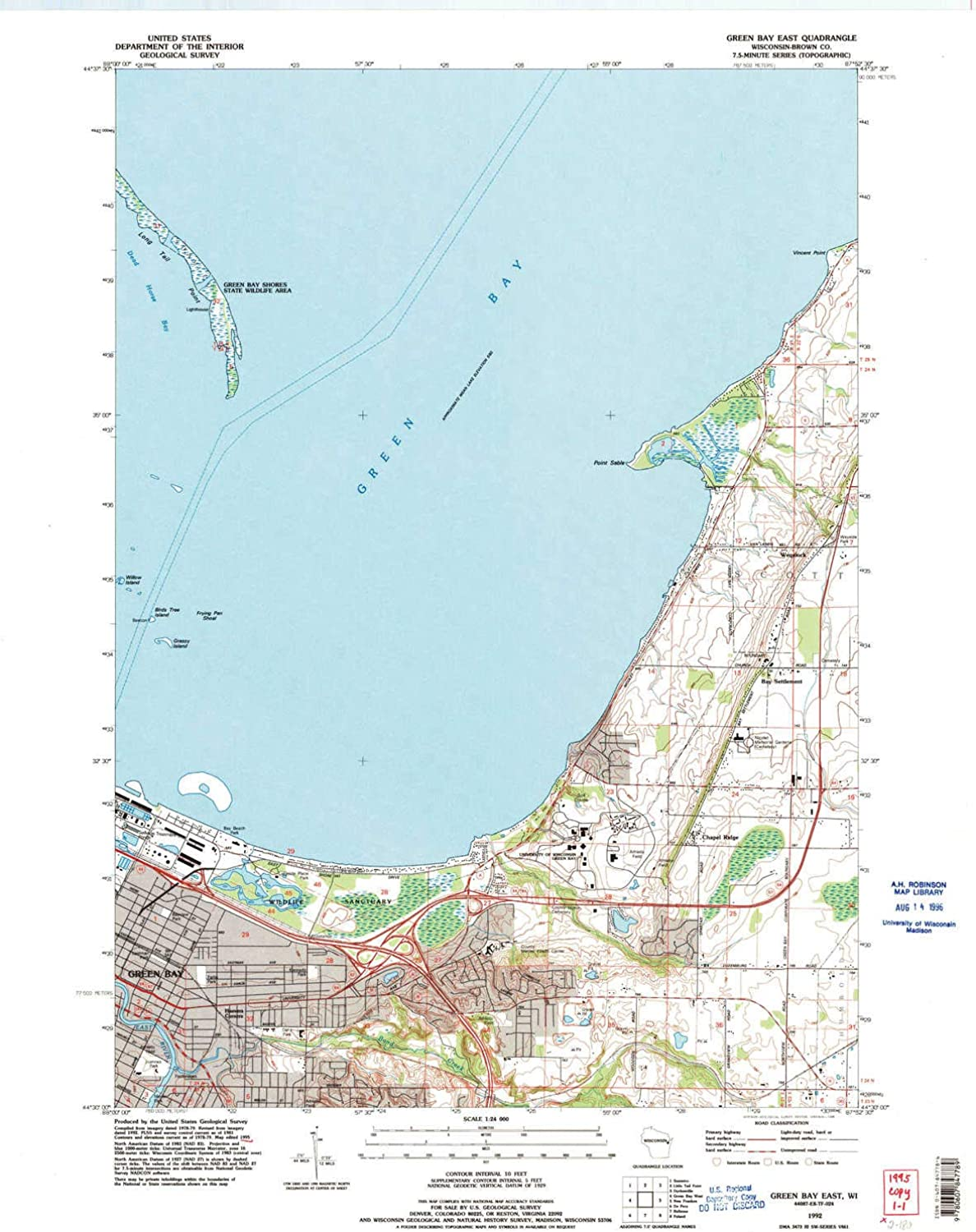Green Bay East WI topo map, 1 24000 Scale, 7.5 X 7.5 Minute, Historical, 1992, Updated 1996, 27.22 x 21.51 in