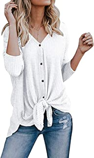 Chvity Womens Waffle Knit Tunic Blouse Tie Knot Henley Tops Loose Fitting Bat Wing Plain Shirts