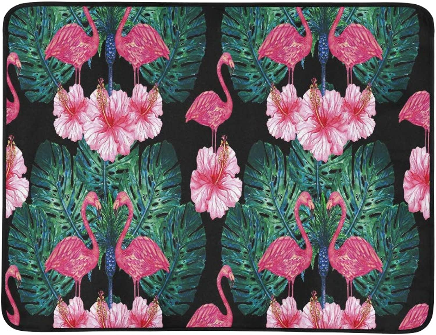 Watercolor Pink Flamingos Tropical Flowers Jungl Pattern Portable and Foldable Blanket Mat 60x78 Inch Handy Mat for Camping Picnic Beach Indoor Outdoor Travel