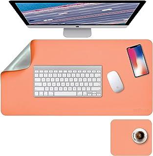 "Desk Pad, Desk Mat, Mouse Mat, XL Desk Pads Dual-Sided Green/Orange, 31.5"" x 15.7"" + 8""x11"" PU Leather Mouse Pad2 Pack Wa..."