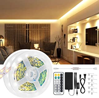 Dimmable Led Light Strip, JIRVY 33ft 600 Units 2835 LEDs 3000K Warm White Led Strip Lights Kit, 12V Under Cabinet Lighting Strips, Non-Waterproof LED Ribbon Tape Light with UL Listed Power Supply