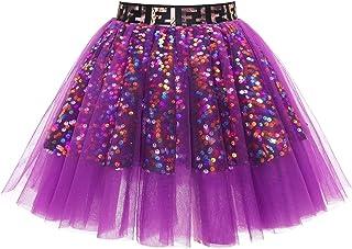 MuaDress Mini Gonna Tulle Paillettes Tutu Rockabilly per Festa Party in Costume