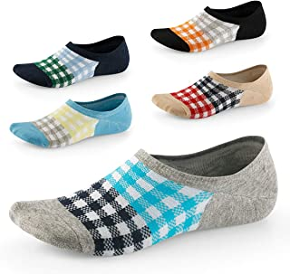 No Show Socks for Men-Low Cut with Non Slip Grip-Invisible Socks for Oxfords Loafers Sneakers US Size7-11 5 Pairs SEESILY