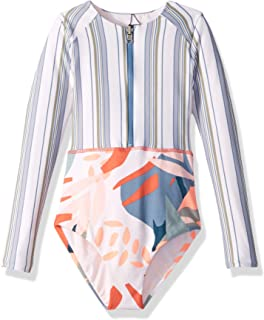 Girls' Long Sleeve Surf Suit with Zip Front One Piece Swimsuit