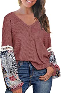 Mfasica Women/'s Round Neck Stripes Stitching Relaxed Tees Pullover Tops