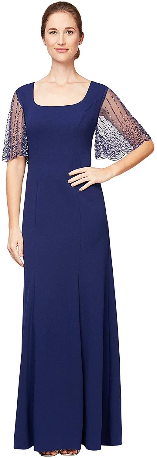 Alex Evenings Women's Long 百貨店 Dress Detail with Knot Front 直営店